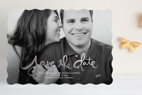 Hand-Lettered Foil-Pressed Save The Date Cards