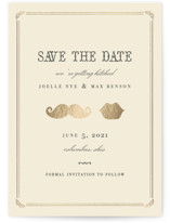 This is a beige foil stamped save the date card by Penelope Poppy called Stache + Kiss with foil-pressed printing on signature in standard.