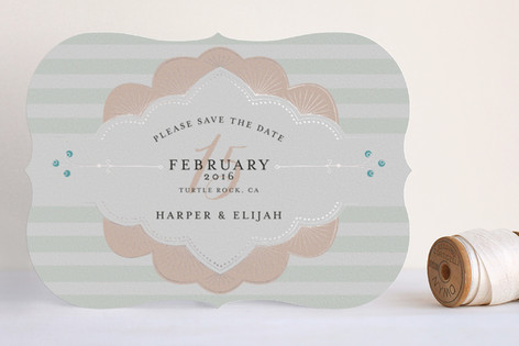 Striped Sweet Nothings Foil-Pressed Save The Date Cards