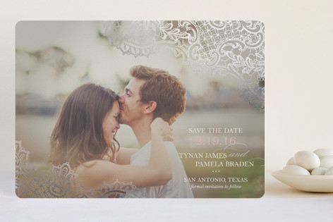White Lace Foil-Pressed Save The Date Cards