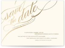 This is a green foil stamped save the date card by annie clark called Winter Flourish with foil-pressed printing on signature in standard.