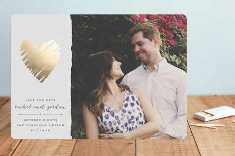 Heart of Gold Foil-Pressed Save The Date Cards