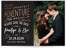 This is a grey foil stamped save the date card by Pink House Press called Adventurers with foil-pressed printing on smooth signature in standard.