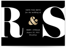 This is a black foil stamped save the date card by Elly called Monogram with foil-pressed printing on signature in standard.