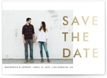 This is a gold foil stamped save the date card by seulghi called Modern Landscape with foil-pressed printing on smooth signature in standard.
