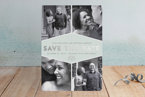 Mod Deco Foil-Pressed Save The Date Cards