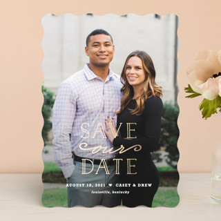"""""""XOXO"""" - Full-Bleed Photo, Modern Foil-pressed Save The Date Cards in Gold by Carolyn MacLaren."""