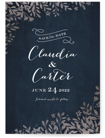 This is a portrait botanical, silver Save the Dates by Jennifer Wick called Sun Prints with Foil Pressed printing on Signature in Classic fold over (blank inside) format.