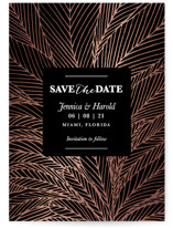 This is a black foil stamped save the date card by aticnomar called dearly lines with foil-pressed printing on signature in standard.