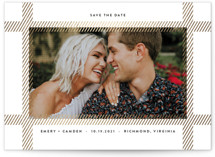 This is a white foil stamped save the date card by carly reed walker called Dimension with foil-pressed printing on smooth signature in standard.