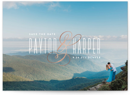 Exquisite Ampersand Foil-Pressed Save the Date Cards