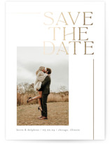 This is a white foil stamped save the date card by Chryssi Tsoupanarias called Luxe Love with foil-pressed printing on triplethick in standard.