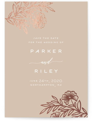 This is a portrait botanical, rustic, brown Save the Dates by Katharine Watson called Riley Floral with Foil Pressed printing on Signature in Classic Flat Card format. This design uses a hand drawn floral motif to create a unique Save ...
