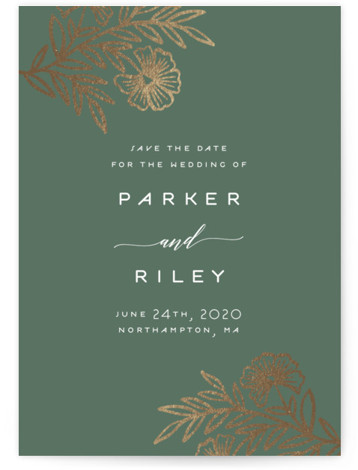 This is a portrait botanical, rustic, green Save the Dates by Katharine Watson called Riley Floral with Foil Pressed printing on Signature in Classic Flat Card format. This design uses a hand drawn floral motif to create a unique Save ...