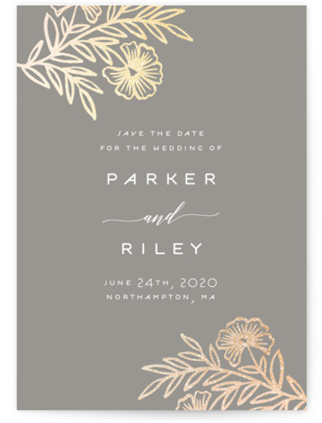This is a portrait botanical, rustic, grey Save the Dates by Katharine Watson called Riley Floral with Foil Pressed printing on Signature in Classic fold over (blank inside) format. This design uses a hand drawn floral motif to create a ...