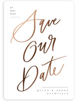 This is a white foil stamped save the date card by Stacey Meacham called Lettered sign with foil-pressed printing on signature in standard.