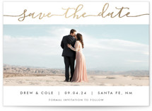 This is a gold foil stamped save the date card by Meg Chalmers called Sophisticated script with foil-pressed printing on smooth signature in standard.