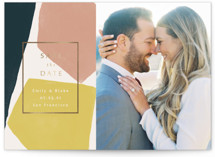 This is a yellow foil stamped save the date card by Kelly Schmidt called abstraction with foil-pressed printing on smooth signature in standard.