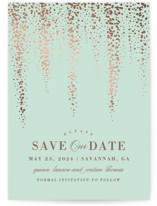 This is a green foil stamped save the date card by Ana Sharpe called Southern Romance with foil-pressed printing on signature in standard.