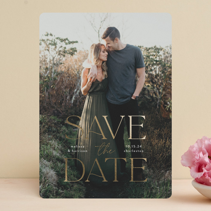 """""""Gilded greeting"""" - Foil-pressed Save The Date Cards in Powder by Susan Asbill."""
