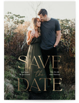 This is a white foil stamped save the date card by Susan Asbill called Gilded greeting with foil-pressed printing on smooth signature in standard.