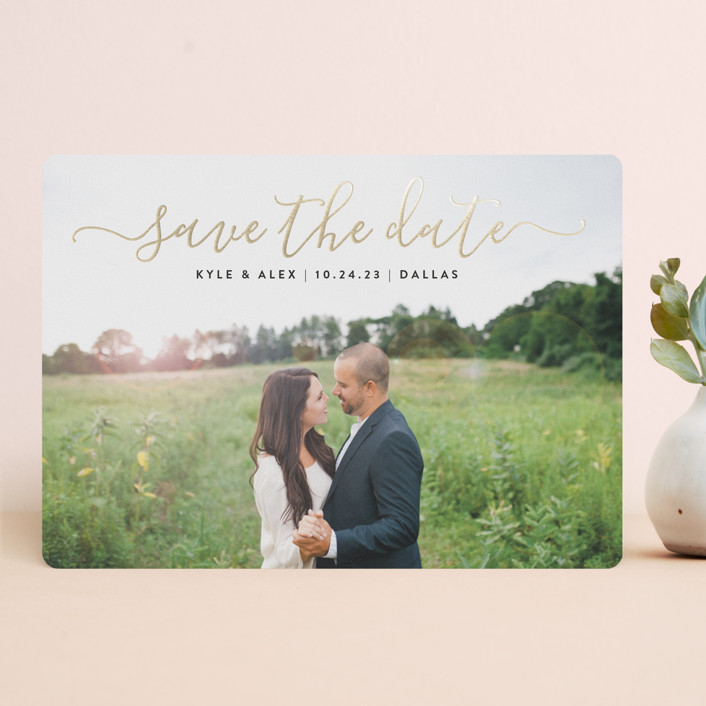 """Sweet Script"" - Foil-pressed Save The Date Cards in Golden by Jessica Ogden."