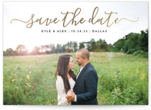 This is a black foil stamped save the date card by Jessica Ogden called Sweet Script with foil-pressed printing on smooth signature in standard.
