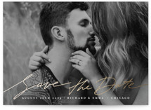 This is a white foil stamped save the date card by Anastasia Makarova called Elegant Lines with foil-pressed printing on smooth signature in standard.