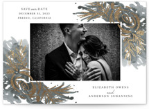 This is a grey foil stamped save the date card by Mayflower Press called Elegance with foil-pressed printing on smooth signature in standard.