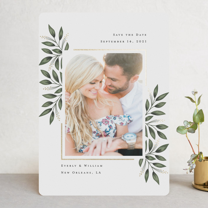 """""""Framed Botanicals"""" - Foil-pressed Save The Date Cards in Forest by Chasity Smith."""