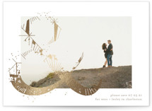 This is a brown foil stamped save the date card by Phrosne Ras called Abstract and love with foil-pressed printing on smooth signature in standard.