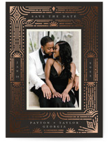 This is a brown foil stamped save the date card by Katie Zimpel called Gatsby and Daisy with foil-pressed printing on signature in standard.