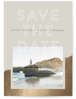 This is a brown foil stamped save the date card by Robin Ott called Palm Springs with foil-pressed printing on smooth signature in standard.