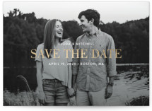 This is a white foil stamped save the date card by Sandra Picco Design called Subtle Statement with foil-pressed printing on smooth signature in standard.