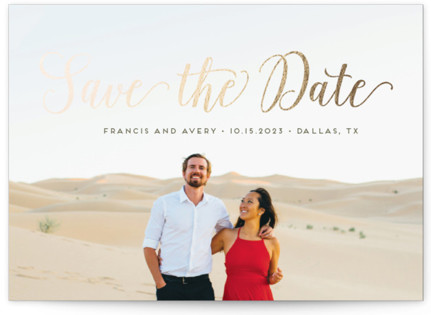 Stylish and Elegant Foil-Pressed Save the Date Cards
