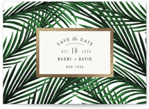 This is a beige foil stamped save the date card by Elly called Tropical Love with foil-pressed printing on signature in standard.
