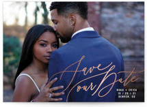 This is a white foil stamped save the date card by Hooray Creative called Corner Piece with foil-pressed printing on smooth signature in standard.