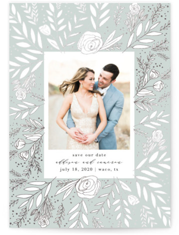 This is a portrait botanical, green, grey Save the Dates by Annie Montgomery called Golden Fields with Foil Pressed printing on Smooth Signature in Classic Flat Card format. Intricately laid flora in a foil patterned background to this elegant, photo ...