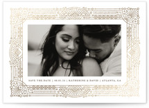 This is a brown foil stamped save the date card by Kristen Smith called Deco Date with foil-pressed printing on triplethick in standard.