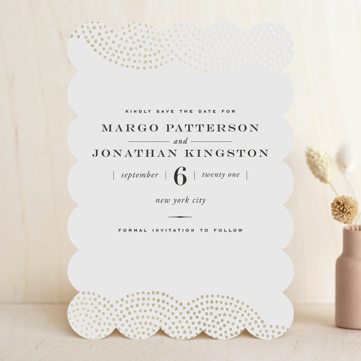 """""""Majestic"""" - Bohemian Foil-pressed Save The Date Cards in Gold by Oscar & Emma."""