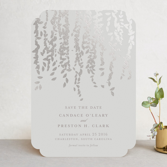 """Cascade"" - Bohemian Foil-pressed Save The Date Cards in Mist by Lori Wemple."