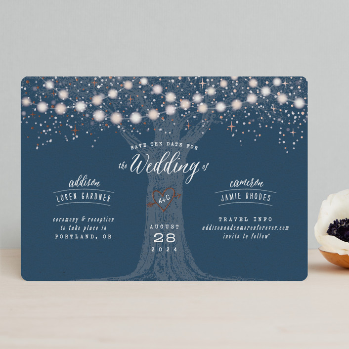 """""""Garden Lights"""" - Rustic Foil-pressed Save The Date Cards in Navy by Hooray Creative."""