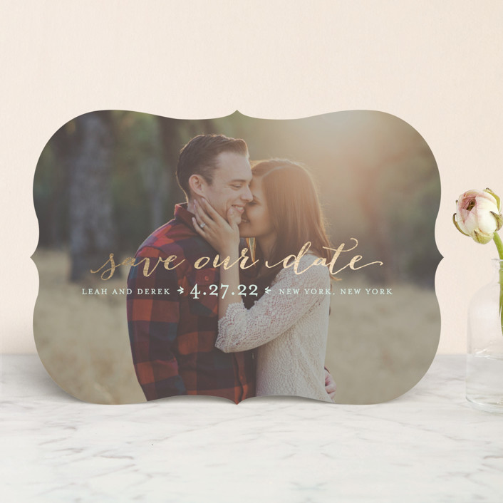 """""""Meet in the Middle"""" - Foil-pressed Save The Date Cards in Silver by Lauren Chism."""