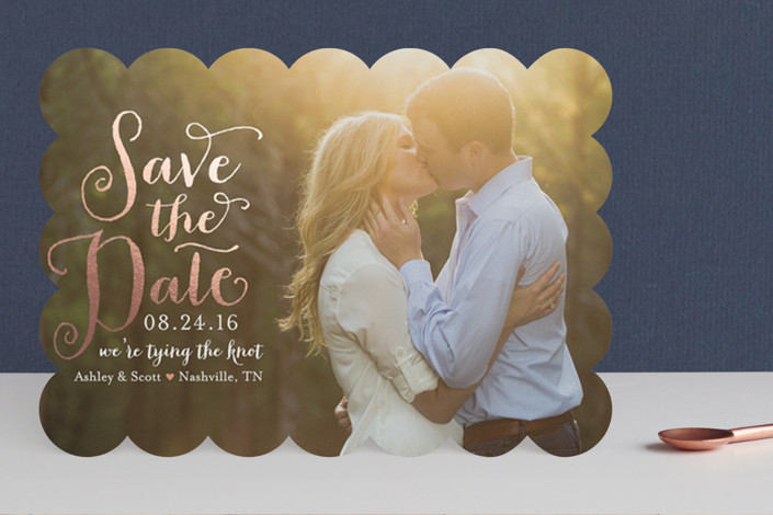 """""""Charmed Calligraphy"""" - Bohemian Foil-pressed Save The Date Cards in Rose Gold by Sarah Guse Brown."""