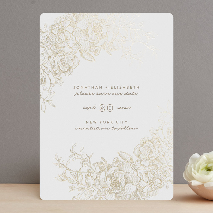 """""""Engraved Flowers"""" - Foil-pressed Save The Date Cards in Latte by Phrosne Ras."""