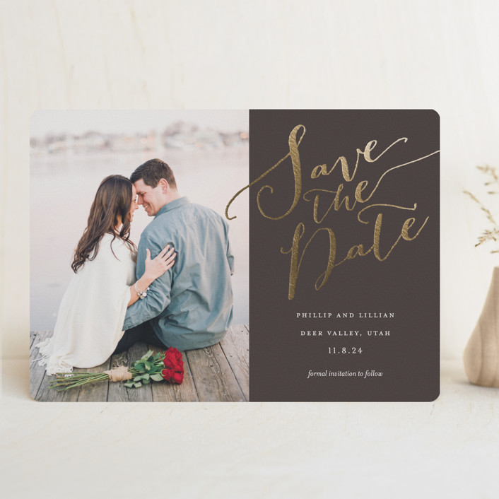 """""""Cottonwood"""" - Foil-pressed Save The Date Cards in Dark Chocolate by Eric Clegg."""