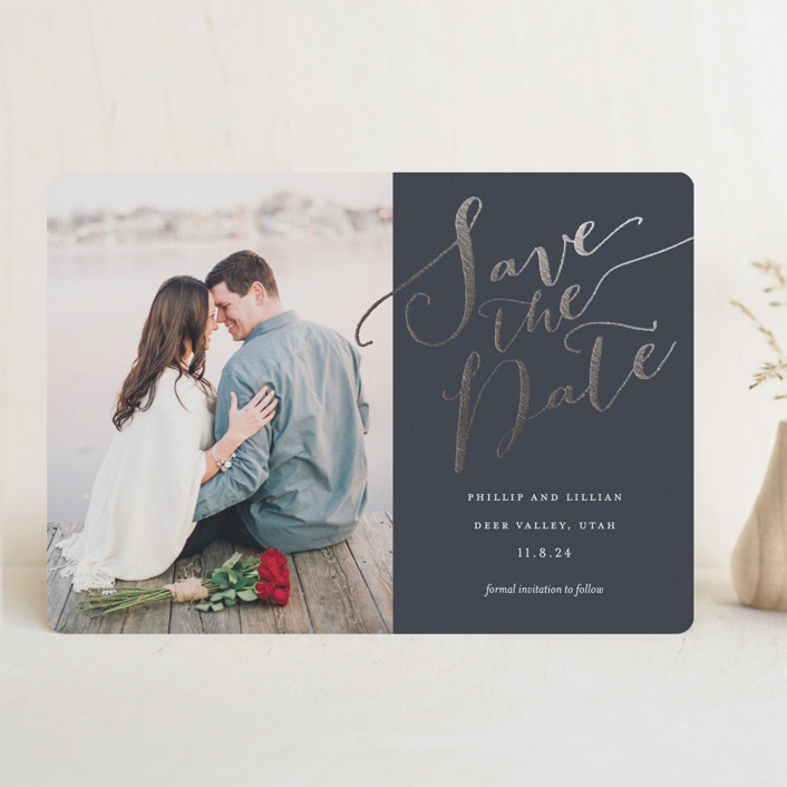 """Cottonwood"" - Foil-pressed Save The Date Cards in Midnight by Eric Clegg."
