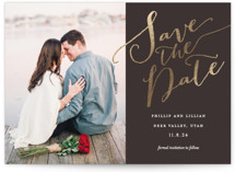 This is a brown foil stamped save the date card by Eric Clegg called Cottonwood with foil-pressed printing on smooth signature in standard.