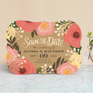 """""""Floral Canopy"""" - Floral & Botanical, Rustic Foil-pressed Save The Date Cards in Peony by Griffinbell Paper Co.."""