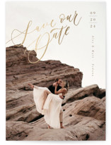 This is a brown foil stamped save the date card by Anastasia Makarova called On the Edge with foil-pressed printing on triplethick in standard.